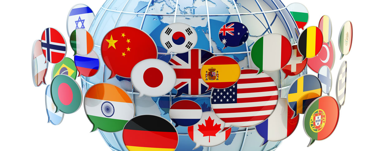 Professional translation of languages respresentaed by flags of the world on a globe
