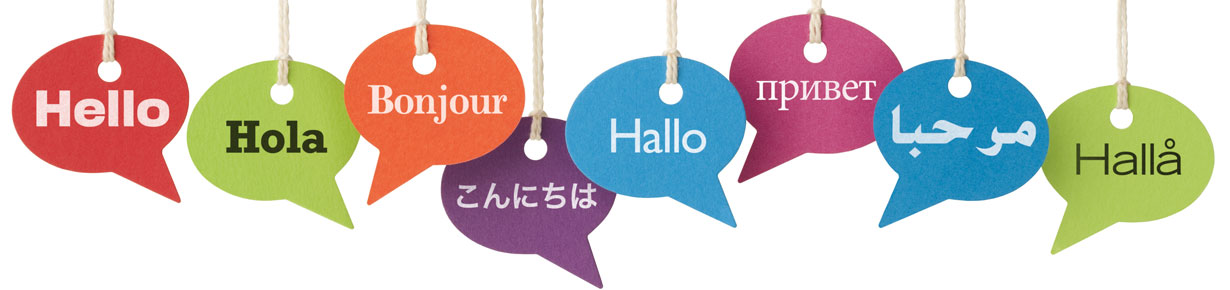 Hello speech bubbles in different languages